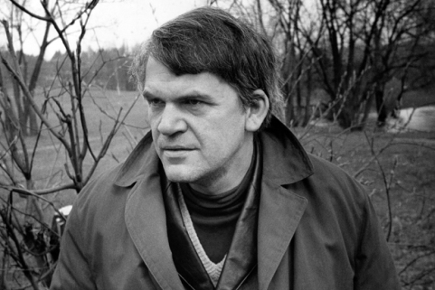 Czech writer Milan Kundera poses in a ga