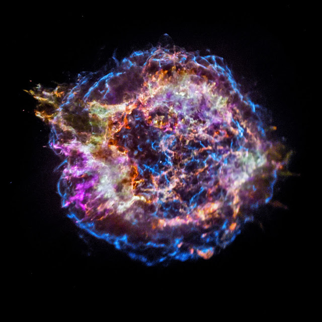 December 12, 2017 - Space - Astronomers have long studied exploded stars and their remains, known as 'supernova remnants'to better understand exactly how stars produce and then disseminate many of the elements observed on Earth, and in the cosmos at large. Due to its unique evolutionary status, Cassiopeia A (Cas A) is one of the most intensely studied of these supernova remnants. A new image from NASA's Chandra X-ray Observatory shows the location of different elements in the remains of the explosion: silicon (red), sulfur (yellow), calcium (green) and iron (purple). Each of these elements produces X-rays within narrow energy ranges, allowing maps of their location to be created. The blast wave from the explosion is seen as the blue outer ring