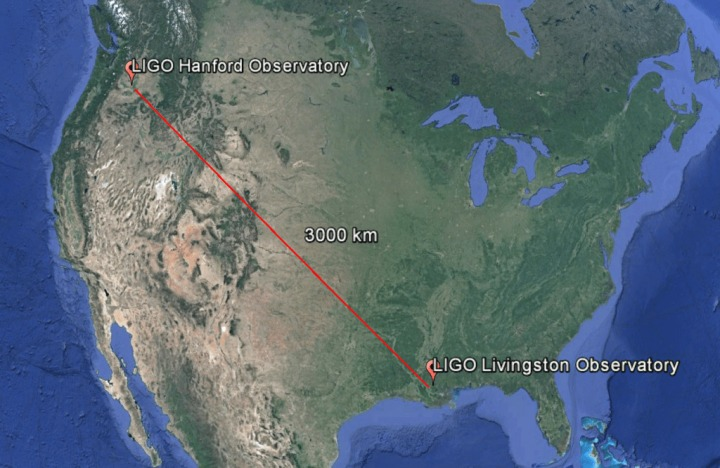 Οι τοποθεσίες των δύο ανιχνευτών LIGO στην Αμερική.
